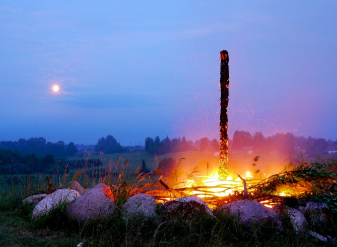 burning bonfire in midsummer